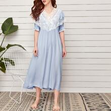 Contrast Lace Surplice Front Flounce Sleeve Nightgown