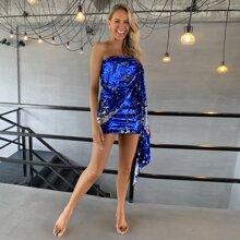 Tube Kleid mit Wickel Design, drapiertem Detail und Pailletten
