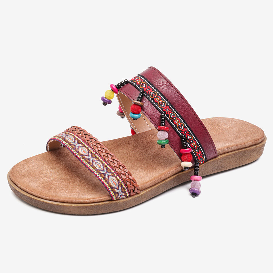 LOSTISY Bohemia Sequined Colorful Splicing Opened Toe Beach Slide Sandals