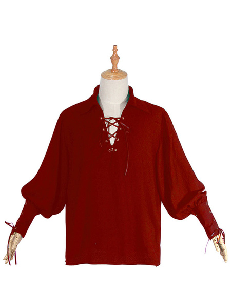 Milanoo Medieval Renaissance Shirt Green Pirate Horseman Peasant Shirt Halloween Costume Top