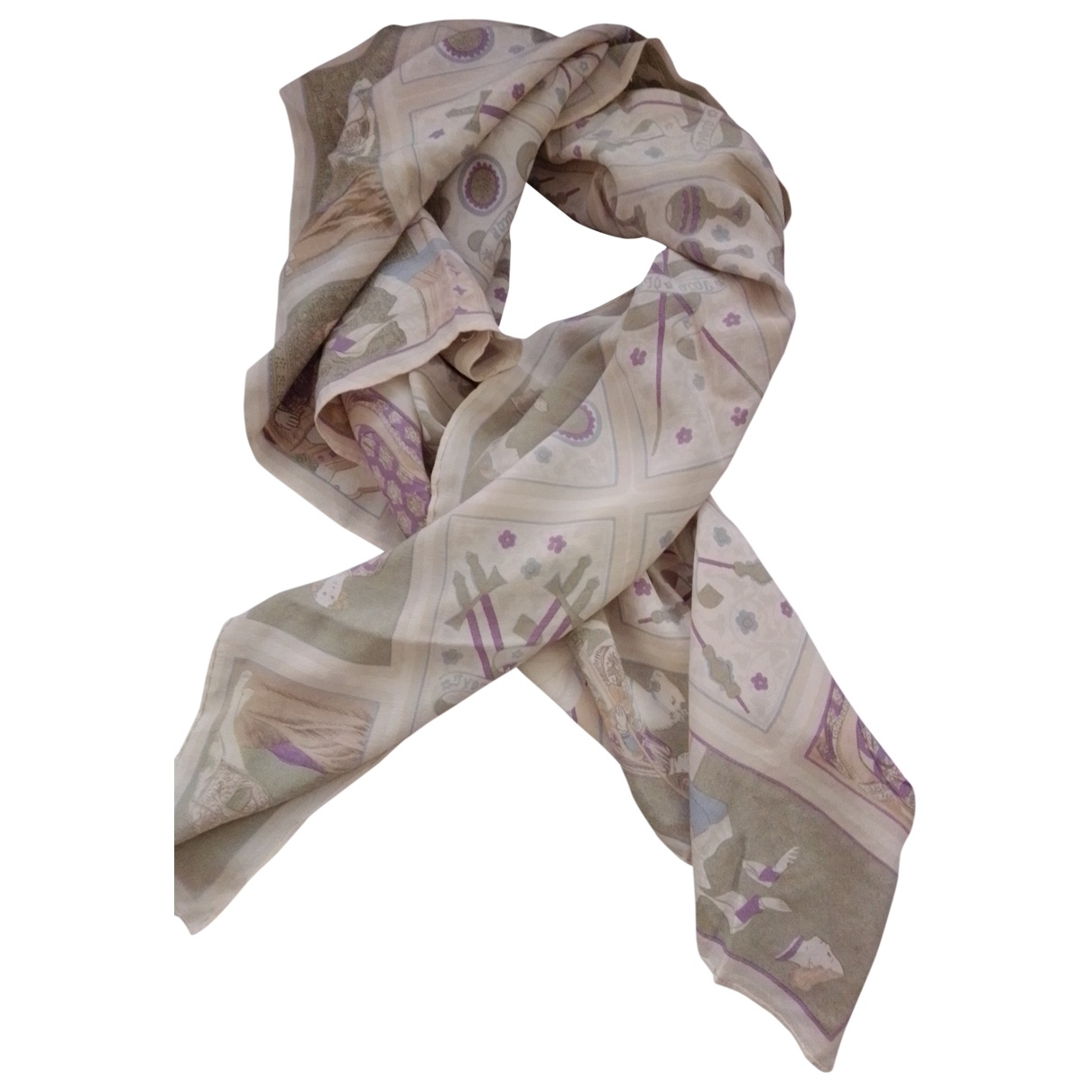 Non Signé / Unsigned \N Beige Silk scarf for Women \N