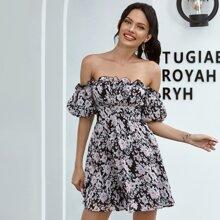 Double Crazy Kleid mit Bischofaermeln und Blumen & Karo Muster