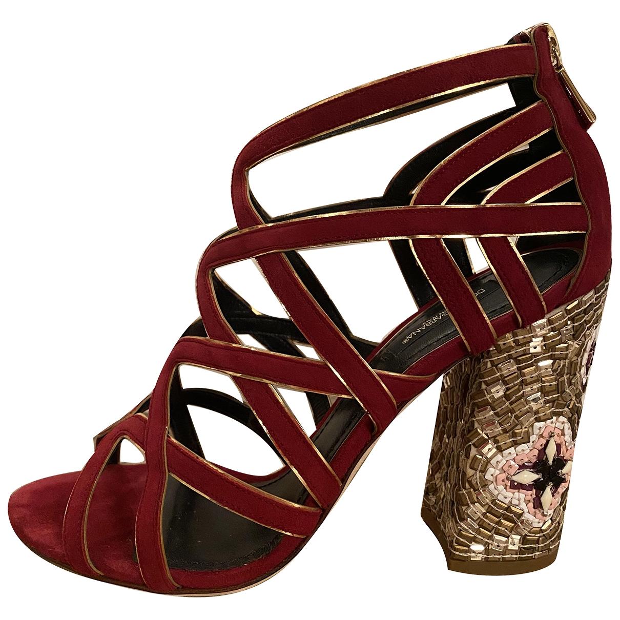 Dolce & Gabbana \N Burgundy Suede Sandals for Women 39 EU