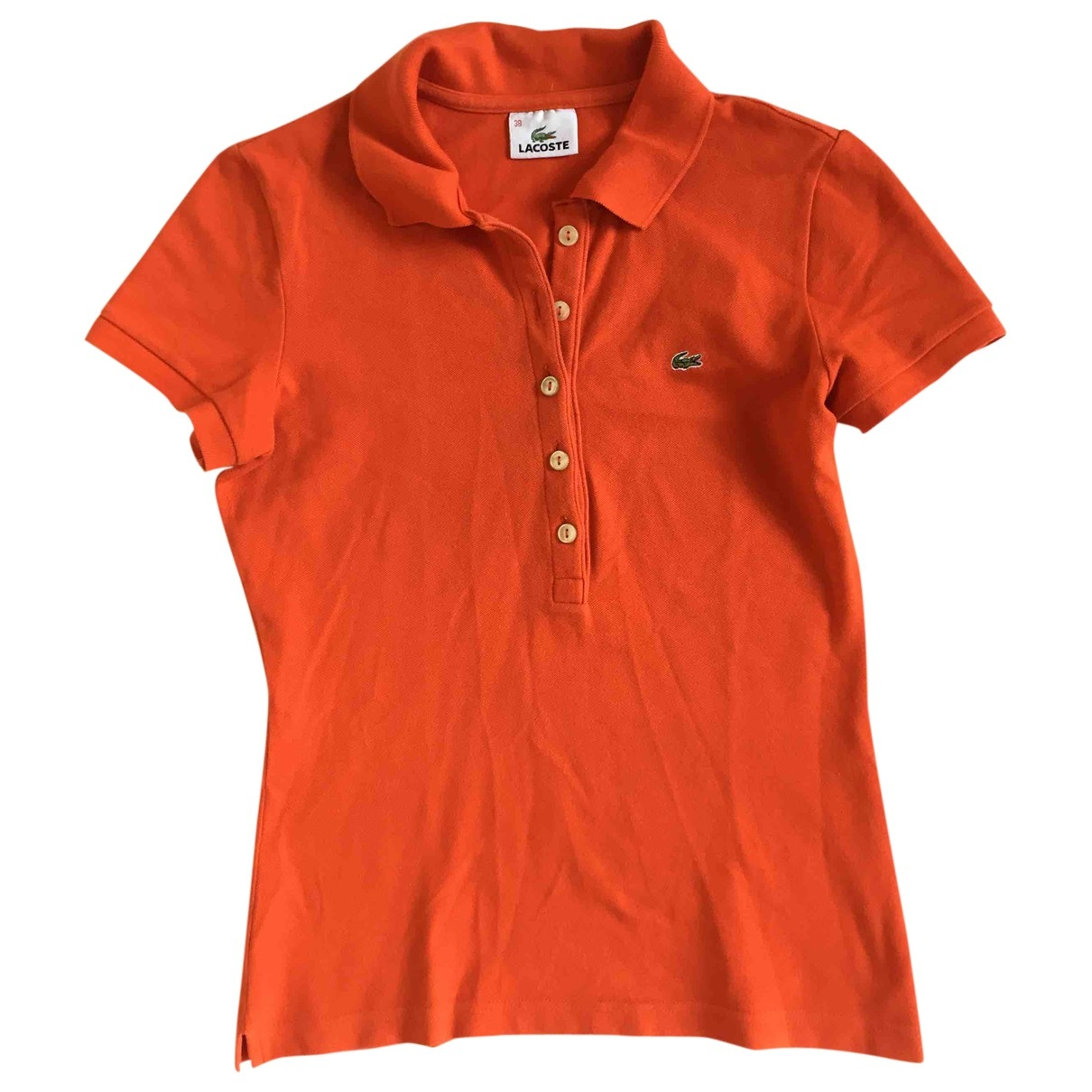 Lacoste - Top   pour femme en coton - orange