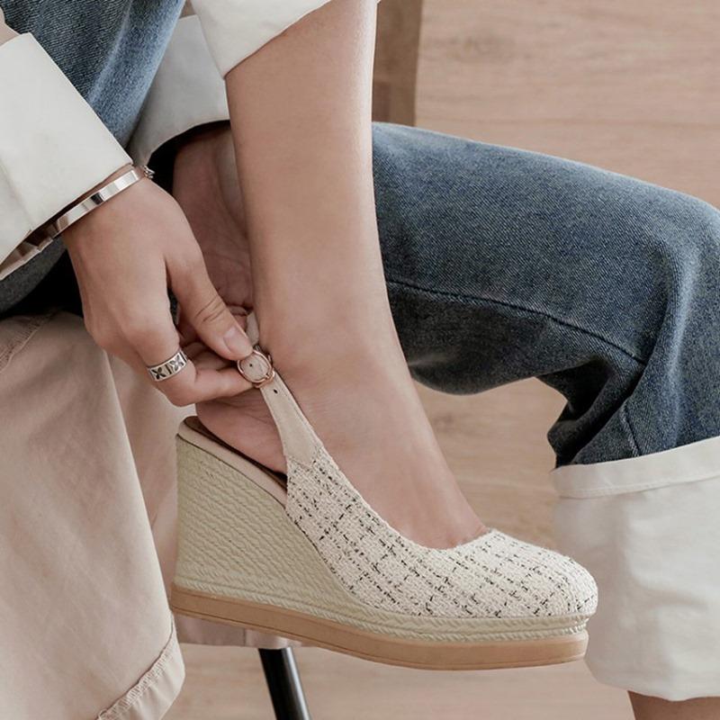 Ericdress Closed Toe Wedge Heel Buckle Platform Sandals