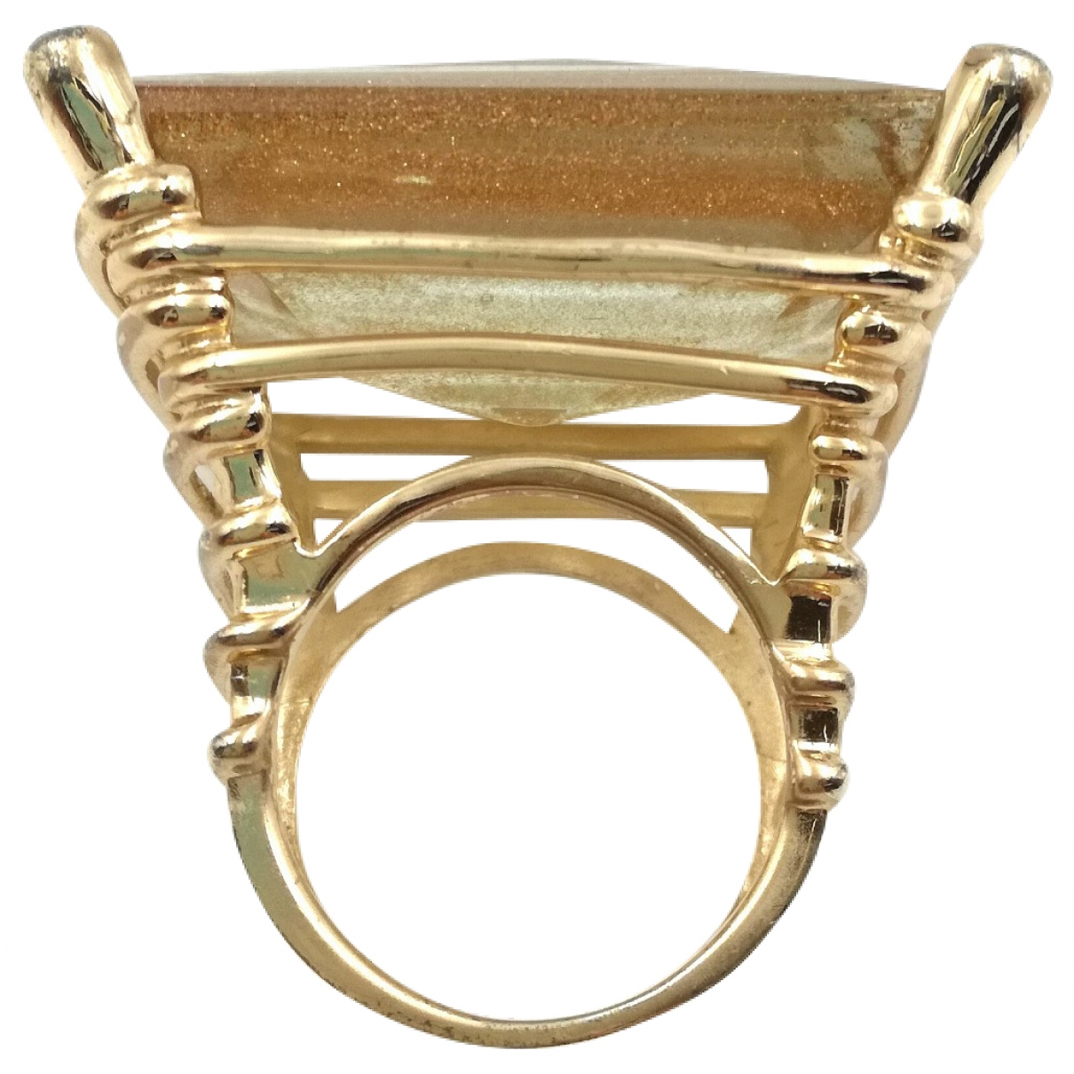 Non Signé / Unsigned Opale Gold Silver ring for Women \N