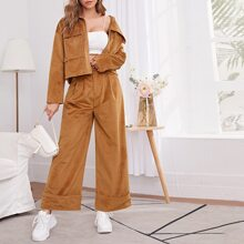 Flap Pocket Front Zip Up Jacket and Wide Leg Cuffed Pants Set