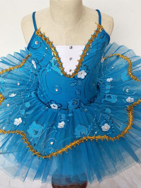 Milanoo Disfraz Halloween Vestido de baile de ballet traje de bañador de encaje azul traje de bailarina de tutu Carnaval Halloween