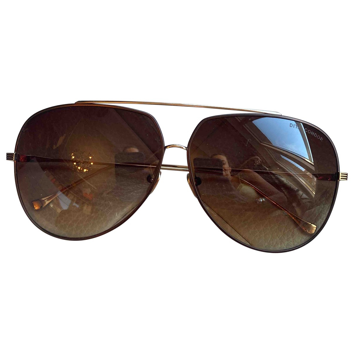 Dita N Brown Metal Sunglasses for Women N
