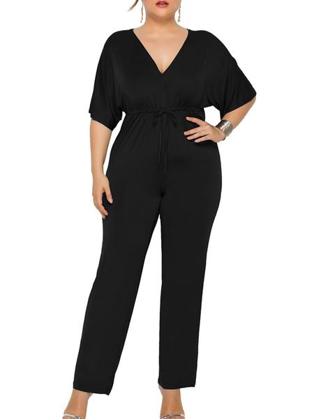 Milanoo Plus Size Jumpsuit For Women Blue V Neck Jumpsuit
