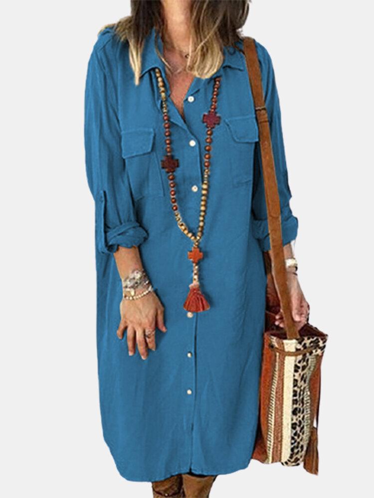 Fleece Long Sleeve Button Vintage Lapel Plus Size Dress