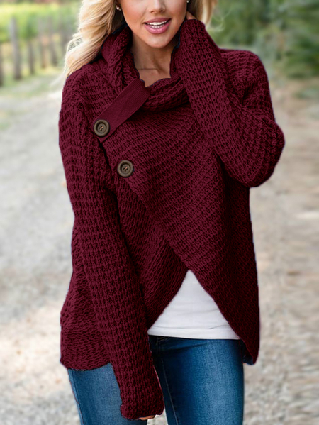 Yoins Burgundy Crossed Front Design Roll Neck Knitted Jumper