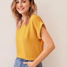 Rolled Cuff Dolman Sleeve Solid Top