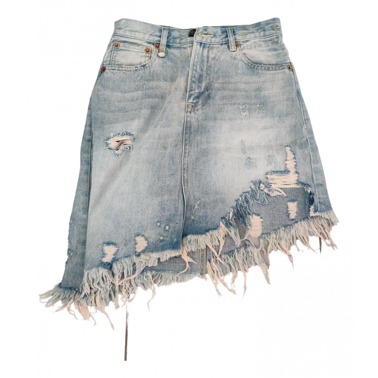 R13 - Jupe   pour femme en coton - bleu