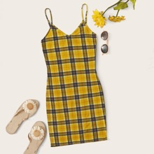 Plaid Cami Bodycon Mini Dress