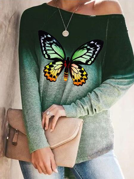 Milanoo Camisetas de manga larga para mujer Camisa de mujer de mariposa con cuello de joya estampada de algodon de poliester morado