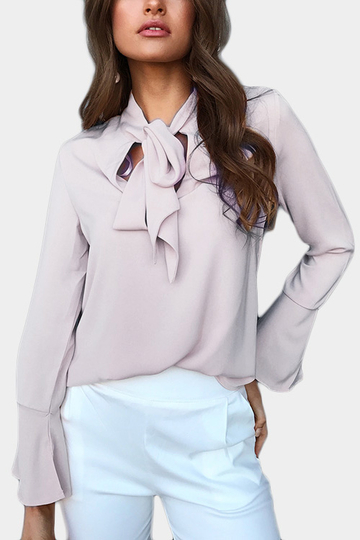 Yoins Grey Self-tie Design Bell Sleeves Chiffon Blouse