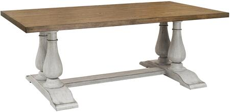 HF-DR219-132-K3 Dining Table with Double Pedestal  Oak Plank Top and Distressed Detailing in Light Oak