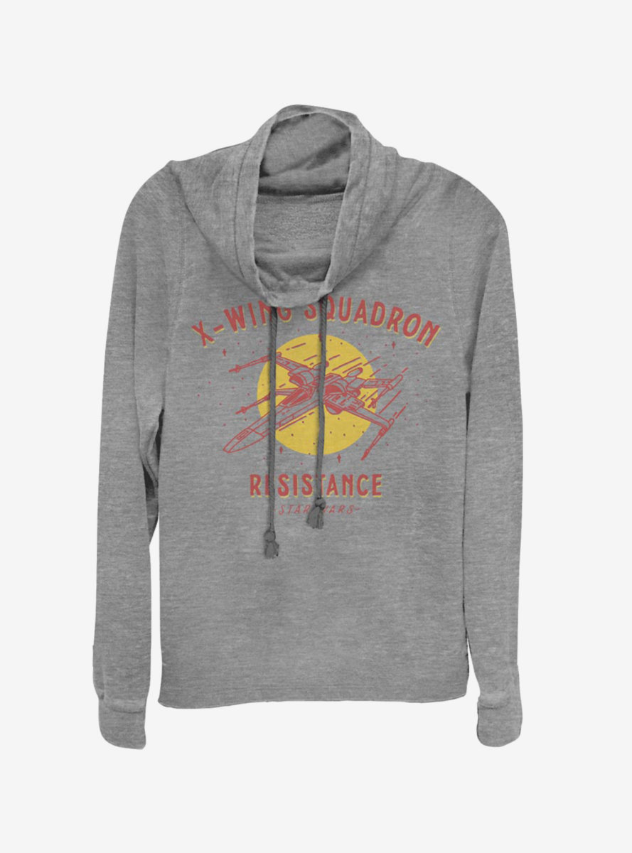 Star Wars Episode IX The Rise Of Skywalker X-Wing Squadron Resistance Cowlneck Long-Sleeve Womens Top