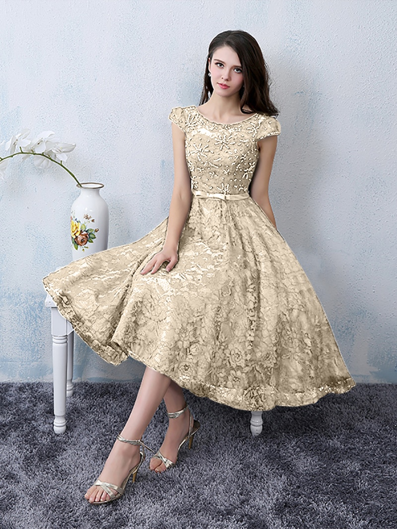 Ericdress A Line Cap Sleeve Scoop Neck Knee-Length Lace Cocktail Dress