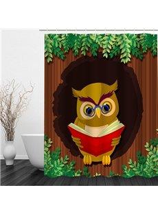 Cartoon Professor Owl 3D Printed Bathroom Waterproof Shower Curtain