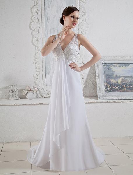 Milanoo White Bridal Wedding Gown with Sheath V-Neck Beading