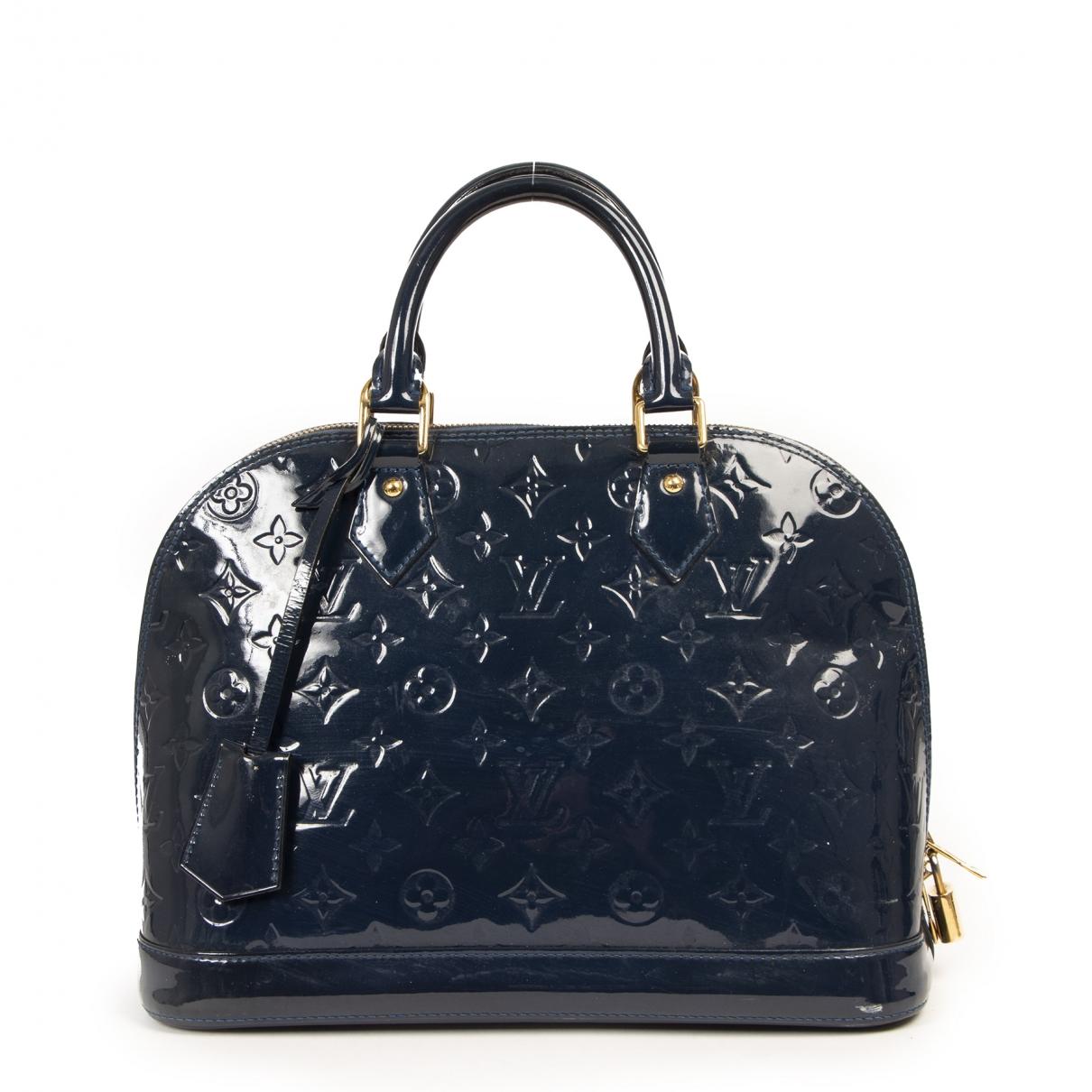 Louis Vuitton - Sac a main Alma pour femme en cuir verni - marine