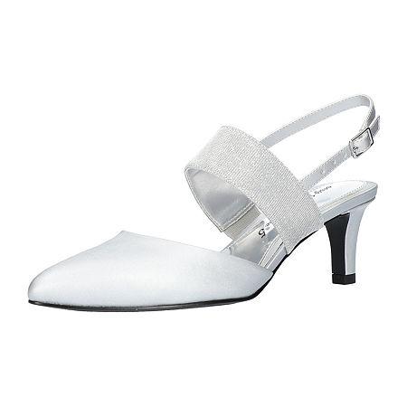 Easy Street Womens Gisella Pumps Spike Heel, 10 Medium, Silver