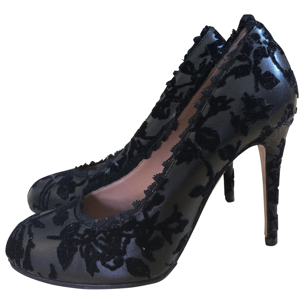 Red Valentino Garavani \N Black Leather Heels for Women 36.5 EU