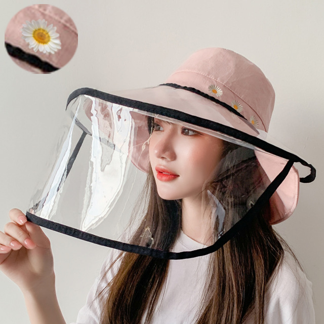 Embroidered Small Daisy Fisherman Hat Soft Foldable Windproof Removable Transparent Anti-fog Cap