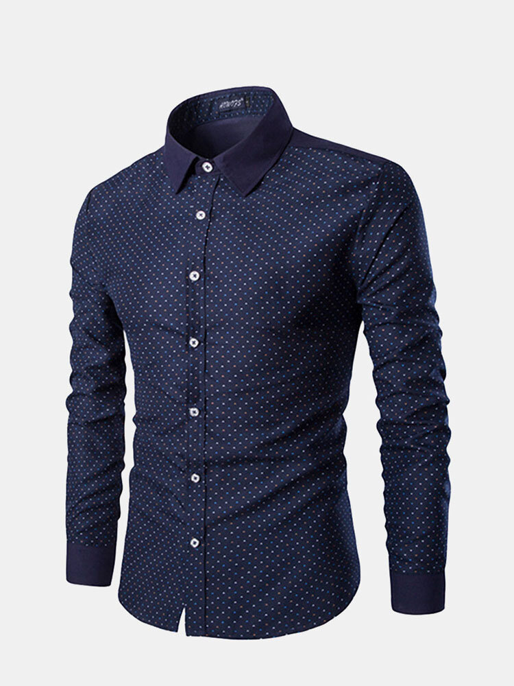 Men Casual Floral Printing Patchwork Long Sleeve Cotton Shirts