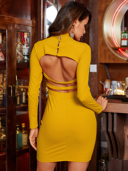 YOINS Backless Design Crew Neck Long Sleeves Dress