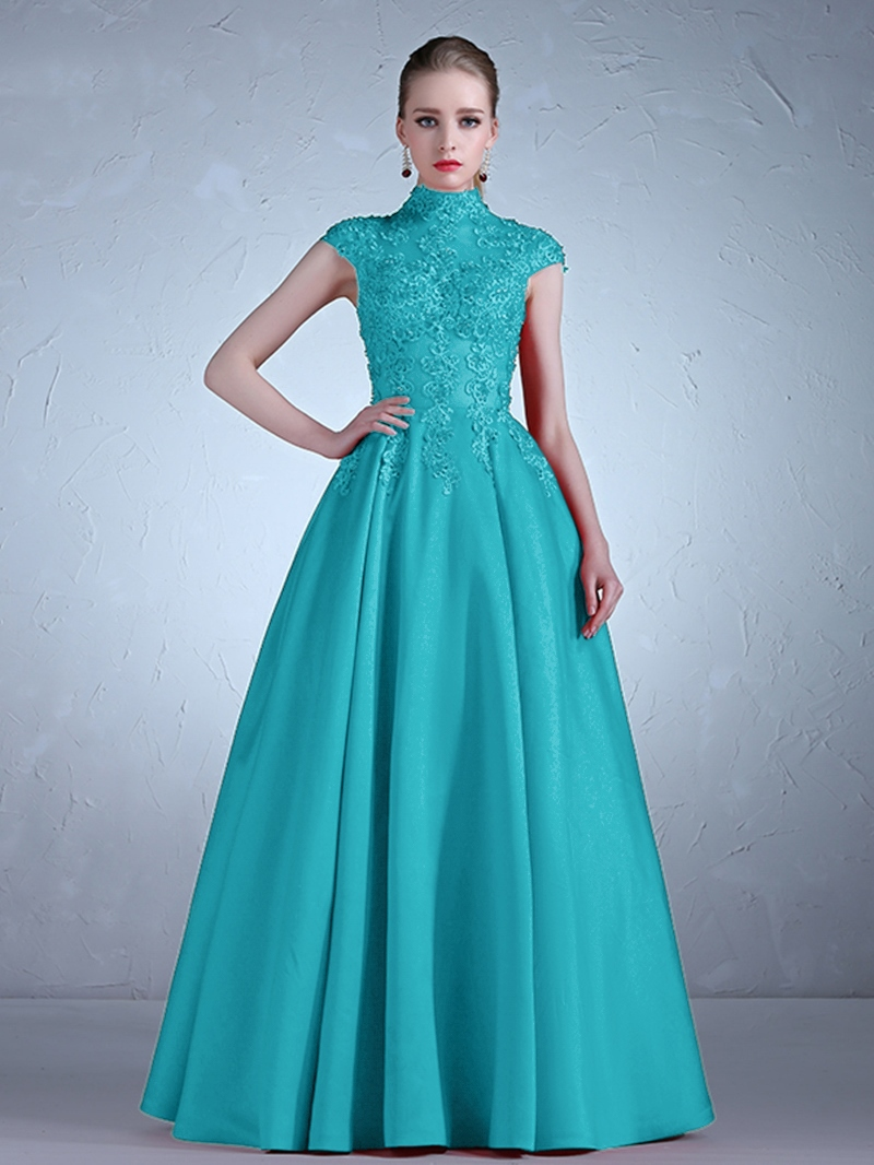 Ericdress Cap Sleeve High Neck Applique Lace A Line Evening Dress