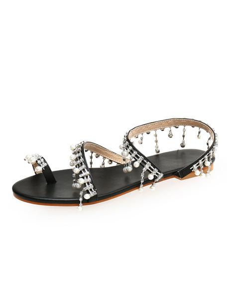 Milanoo Black Flat Sandals Women Toe Loop Rhinestones Pearls Strappy Beach Sandals