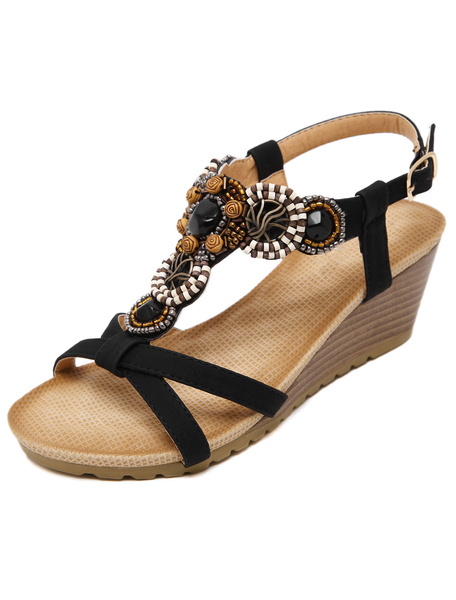 Milanoo Apricot Wedge Sandals Beaded Bohemian PU Buckle Detail Ankle Strap Sandals for Women