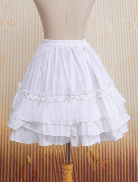 Milanoo Cotton White Multi-layer Lace Lolita Skirt