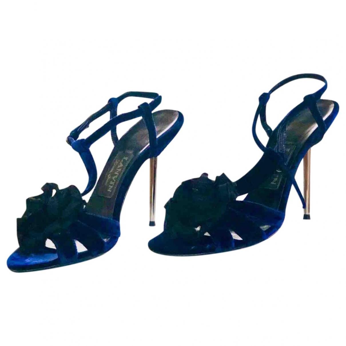 Lanvin \N Blue Velvet Sandals for Women 39.5 EU