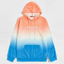 Guys Letter Embroidered Ombre Hoodie