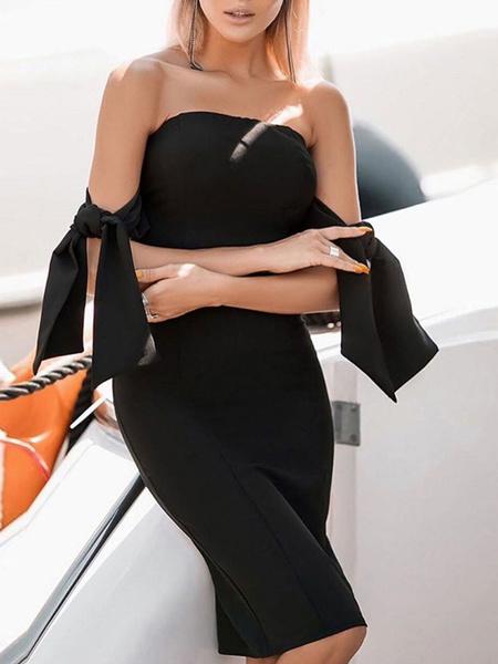 Milanoo Vestidos ajustados Mangas cortas negras Con cordones Vestido sin tirantes sin tirantes sexy Vestido tubo