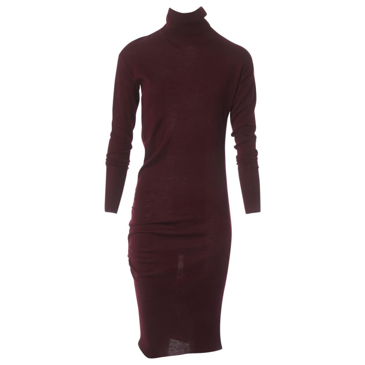 Alexander Mcqueen - Robe   pour femme en laine - bordeaux
