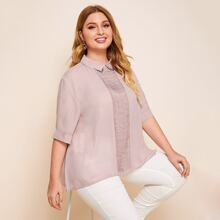 Plus Pintuck Detail Blouse