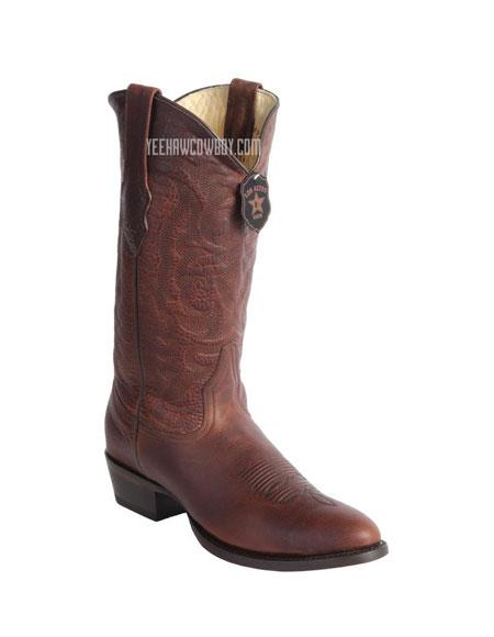 Men's Handcrafted Wild West Rage Cowboy Leather Round Toe walnut Boots