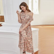 Ditsy Floral Layered Ruffle Panel Asymmetrical Neck Dress