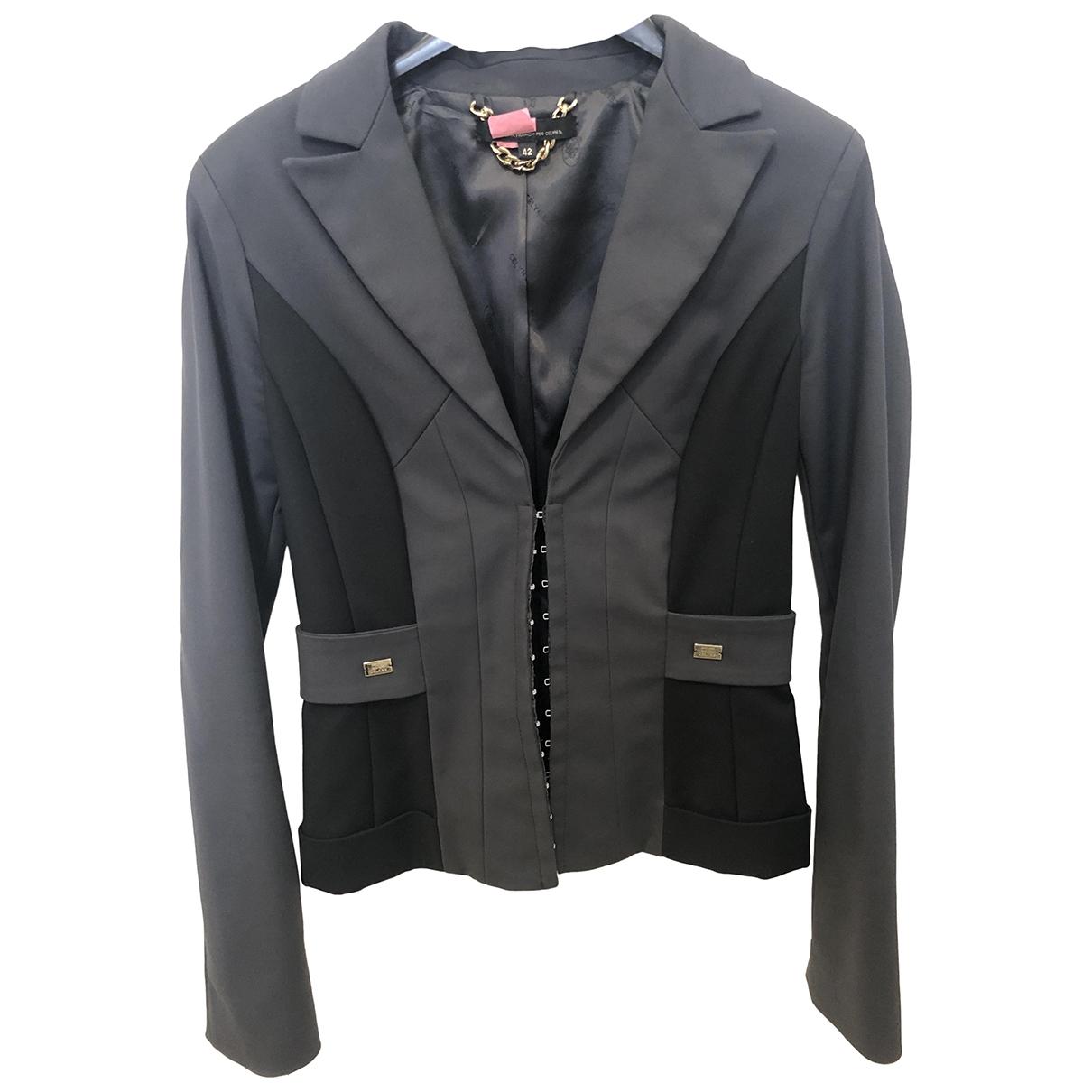 Elisabetta Franchi \N Anthracite Cotton jacket for Women 42 IT