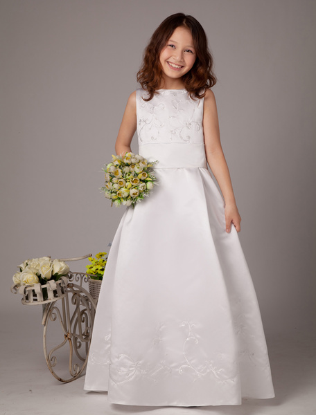 Milanoo Trendy White Sleeveless Satin First Communion Dress