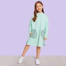 Kleinkind Maedchen Kleid mit Kontrast Kunstpelz und Schlitz am Saum