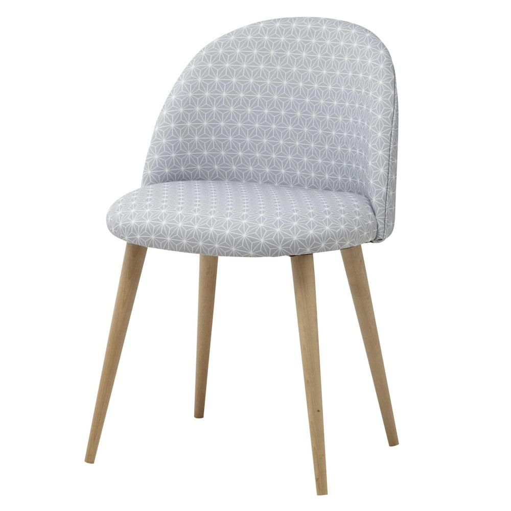 Grauer Stuhl im Vintage-Stil mit Sternenmuster und Birkenholz Mauricette