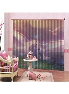 100% Blackout Decorative 3D Animal Print Living Room Curtains with Dreamlike White Horse Pattern