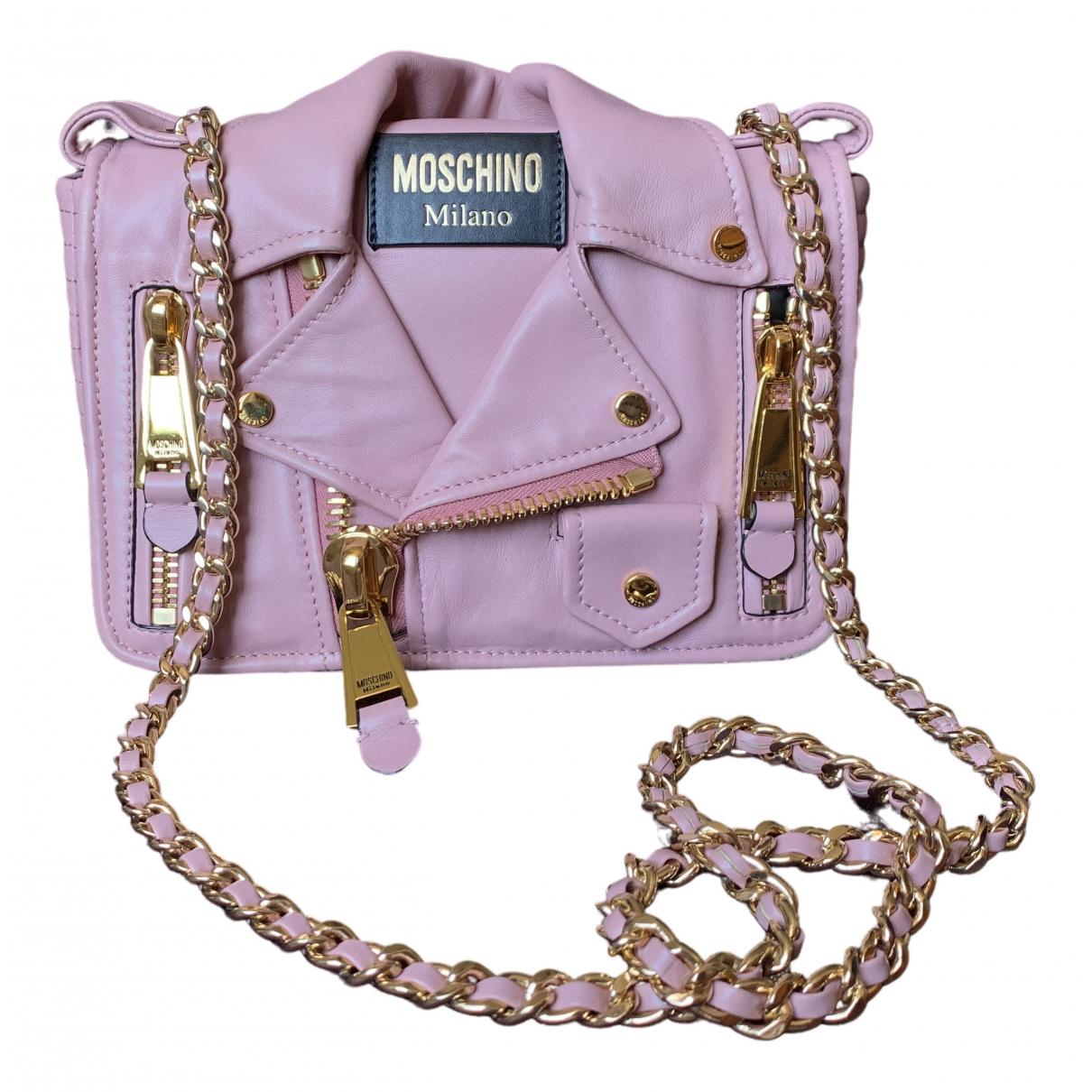 Moschino Biker Handtasche in  Rosa Leder