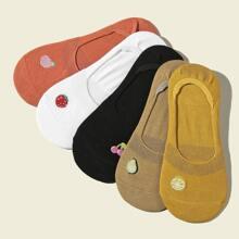 5 Paare Socken mit Obst Stickereien